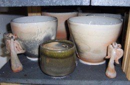 Close Up Of Shino Pots In Kiln