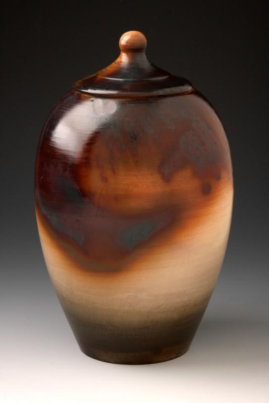 Saggar Fired Lidded Jar